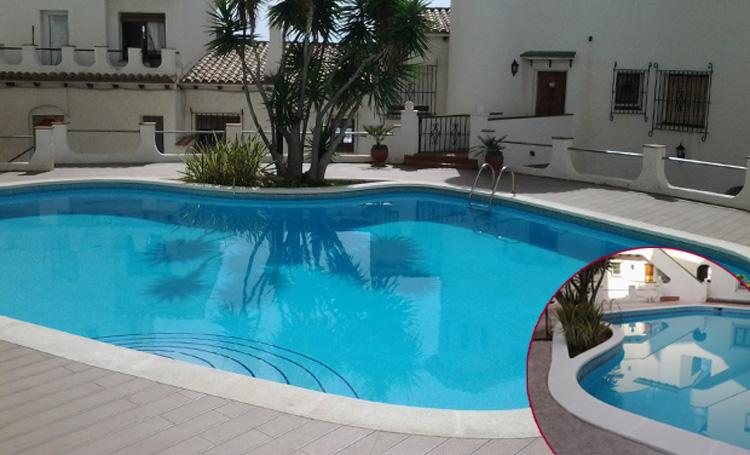 Coronación de piscina aplantillada curva